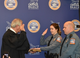 Orange Beach Police Officer Abby Headley sworn in by Judge Brackin with Officer Dean, 1.9.2019