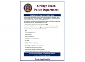 Orange Beach police issue advisory to Spring Break 2020 guests