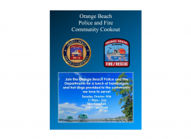 Flyer for Community Cookout set for October 30th, hosted by Orange Beach police and fire departments