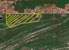 A map shows an area in yellow where a prescribed burn is planned on Dec. 31, 2019