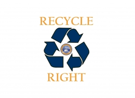 Recycle Right Orange Beach graphic
