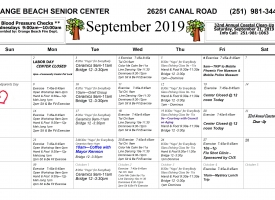 September 2019 Orange Beach Adult/Senior Center Calendar