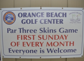 The Orange Beach Golf Center will host the monthly Skins Game Tournament on Sunday, January 5th, with a shotgun start at 1 p.m. The public is welcome.