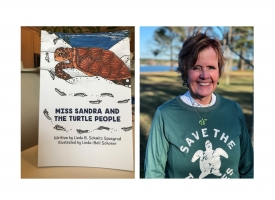 Cover of the book Miss Sandra and the Turtle people and a photo of author Linda Spangrud