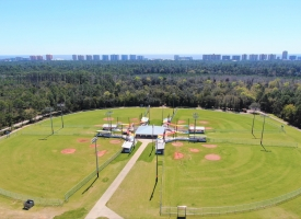 Aerial photo of the Orange Beach Sportsplex showing baseball and softball fields