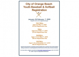 Orange Beach youth baseball, softball registration opens Jan. 20