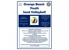 Orange Beach Spring 2021 Youth Volleyball flyer