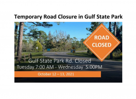 Screenshot of press release announcing temporary road closure in Gulf State Park scheduled for October 12-13