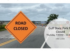 Temporary road closure in Gulf State Park on Thursday, June 3