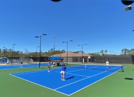 The Orange Beach Tennis League playing on the newly renovated tennis courts in Orange Beach, Alabama.