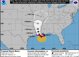 Forecast cone for Tropical Storm Barry in the Gulf of Mexico at 4 p.m. Friday, July 12, 2019