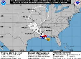 Tropical Storm Gordon 10a update NWS, 9.4.2018