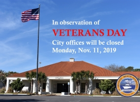 Veterans Day 2019 closings graphic for City of Orange Beach