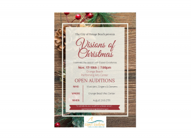 Visions of Christmas auditions flyer, August 2021