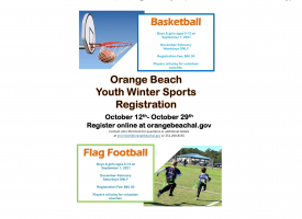 Registration opens October 12th for youth basketball and flag football 2021-22 winter season in Orange Beach
